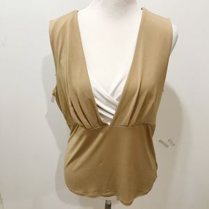 Tesori Size L Knit Top Beige White Layer Look